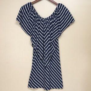 Lily Bleu Beach dress. Navy + white stripes Large